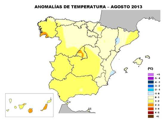 Anomalía de temperatura agosto 2013 (AEMET)