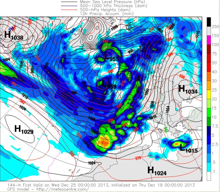 Predicción modelo GFS superficie 00Z 25 diciembre 2013