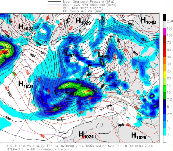 Predicción presión y precipitación modelo GFS 14 febrero 2014 6Z