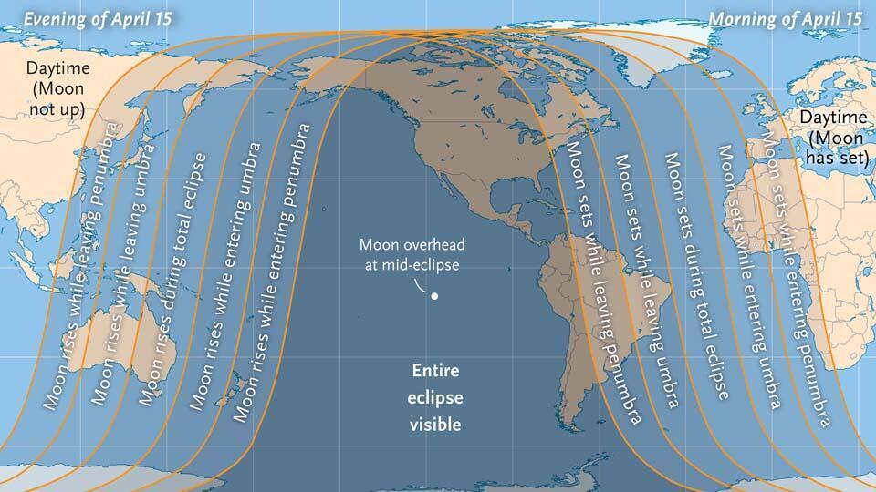 Las zonas del Tierra donde se verá el eclipse lunar y en que momentos