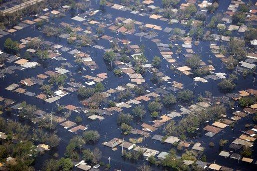 Inundaciones en Nueva Orleans durante el huracán Katrina en agosto de 2005