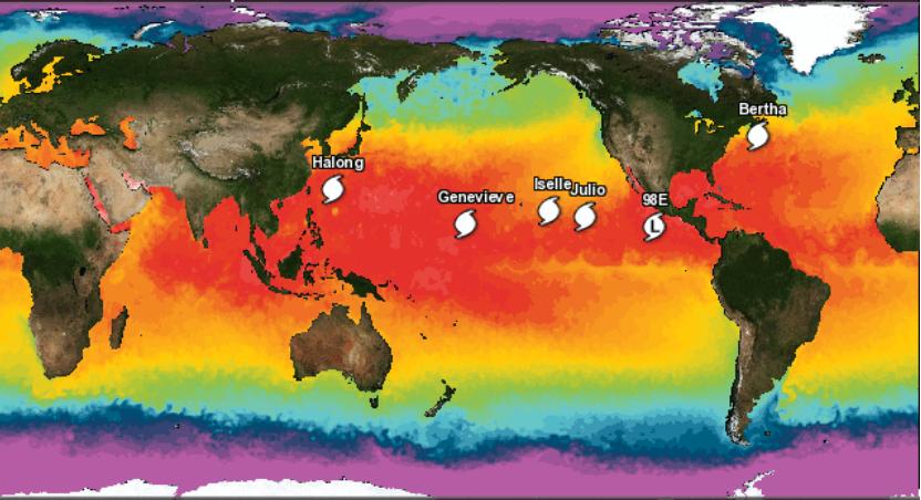 Tormentas tropicales, huracanes y tifones activos el 6 de agosto de 2014