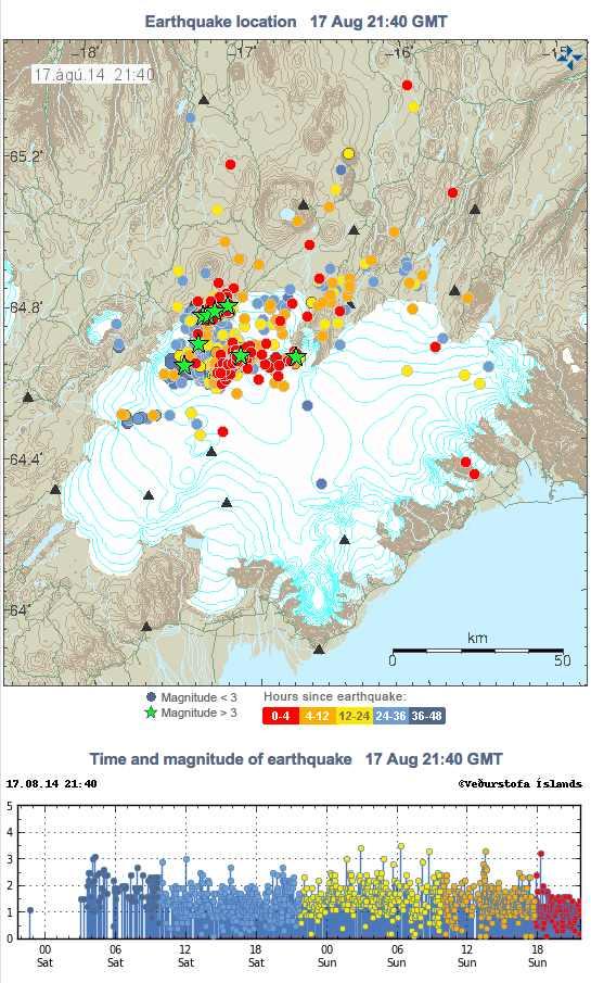 Actividad sísmica entorno al volcán Barbardunga, Islandia. Agosto 2014