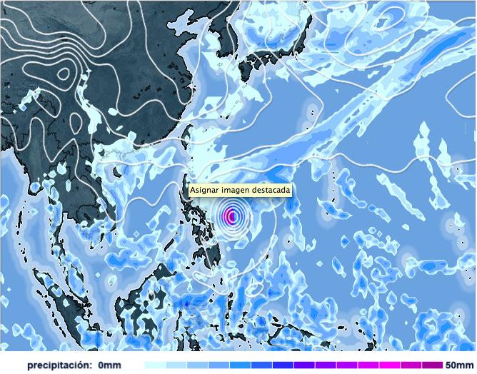 Posición de Hagupit el viernes 5 de diciembre 2014, modelo GFS