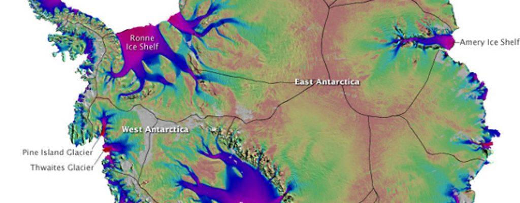 Mapa de los flujos de hielo